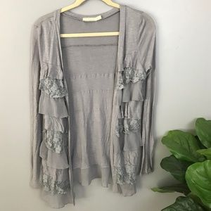 Anthropologie Pins Needles Grey Lace Open Cardigan